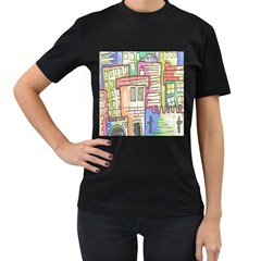 A Village Drawn In A Doodle Style Women s T Shirt (black) by BangZart