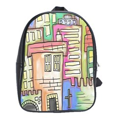 A Village Drawn In A Doodle Style School Bags(large)