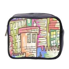 A Village Drawn In A Doodle Style Mini Toiletries Bag 2 Side by BangZart