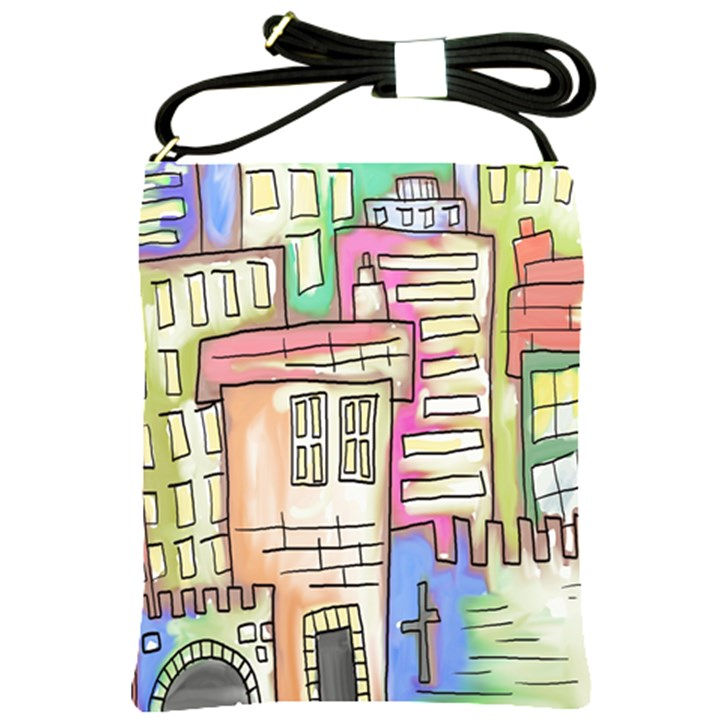 A Village Drawn In A Doodle Style Shoulder Sling Bags