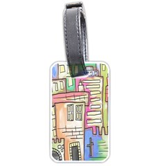 A Village Drawn In A Doodle Style Luggage Tags (two Sides)