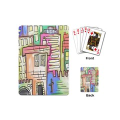 A Village Drawn In A Doodle Style Playing Cards (mini)