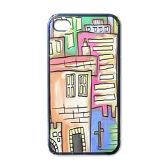 A Village Drawn In A Doodle Style Apple Iphone 4 Case (black)