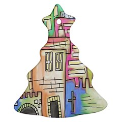 A Village Drawn In A Doodle Style Christmas Tree Ornament (two Sides)