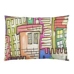 A Village Drawn In A Doodle Style Pillow Case (two Sides)