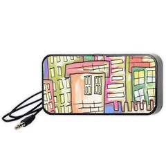 A Village Drawn In A Doodle Style Portable Speaker (black)
