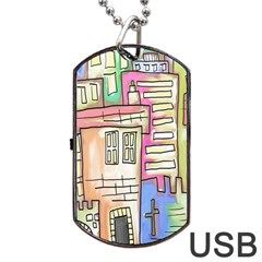 A Village Drawn In A Doodle Style Dog Tag Usb Flash (one Side) by BangZart