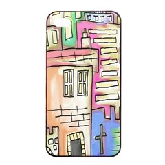 A Village Drawn In A Doodle Style Apple Iphone 4/4s Seamless Case (black)