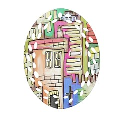 A Village Drawn In A Doodle Style Ornament (oval Filigree) by BangZart