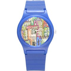 A Village Drawn In A Doodle Style Round Plastic Sport Watch (s) by BangZart
