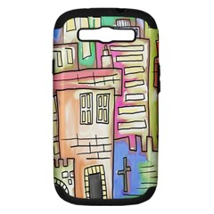 A Village Drawn In A Doodle Style Samsung Galaxy S Iii Hardshell Case (pc+silicone) by BangZart