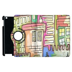 A Village Drawn In A Doodle Style Apple Ipad 3/4 Flip 360 Case by BangZart