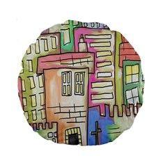 A Village Drawn In A Doodle Style Standard 15  Premium Round Cushions by BangZart