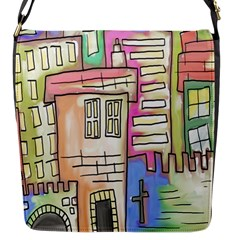 A Village Drawn In A Doodle Style Flap Messenger Bag (s)