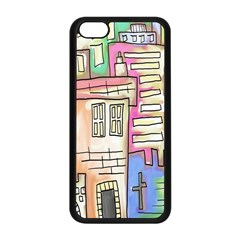 A Village Drawn In A Doodle Style Apple Iphone 5c Seamless Case (black) by BangZart