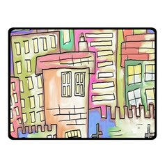 A Village Drawn In A Doodle Style Double Sided Fleece Blanket (small)  by BangZart