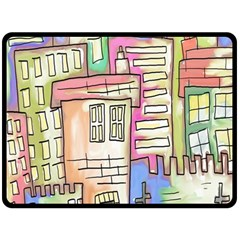 A Village Drawn In A Doodle Style Double Sided Fleece Blanket (large)  by BangZart
