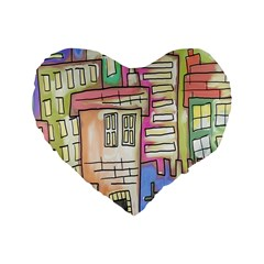A Village Drawn In A Doodle Style Standard 16  Premium Flano Heart Shape Cushions by BangZart
