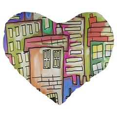 A Village Drawn In A Doodle Style Large 19  Premium Flano Heart Shape Cushions