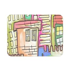 A Village Drawn In A Doodle Style Double Sided Flano Blanket (mini)