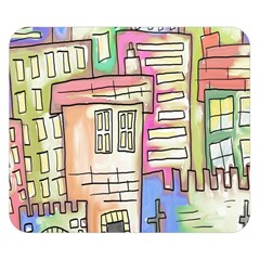 A Village Drawn In A Doodle Style Double Sided Flano Blanket (small)  by BangZart