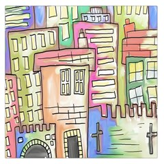 A Village Drawn In A Doodle Style Large Satin Scarf (square)