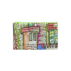 A Village Drawn In A Doodle Style Cosmetic Bag (xs) by BangZart