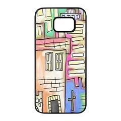 A Village Drawn In A Doodle Style Samsung Galaxy S7 Edge Black Seamless Case