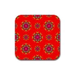 Rainbow Colors Geometric Circles Seamless Pattern On Red Background Rubber Square Coaster (4 Pack)  by BangZart