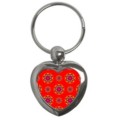 Rainbow Colors Geometric Circles Seamless Pattern On Red Background Key Chains (heart)