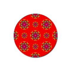 Rainbow Colors Geometric Circles Seamless Pattern On Red Background Rubber Round Coaster (4 Pack)