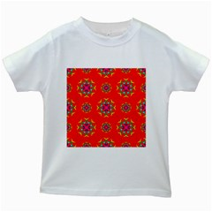 Rainbow Colors Geometric Circles Seamless Pattern On Red Background Kids White T Shirts