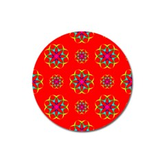 Rainbow Colors Geometric Circles Seamless Pattern On Red Background Magnet 3  (round) by BangZart