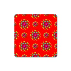Rainbow Colors Geometric Circles Seamless Pattern On Red Background Square Magnet