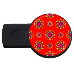 Rainbow Colors Geometric Circles Seamless Pattern On Red Background Usb Flash Drive Round (2 Gb) by BangZart