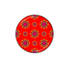 Rainbow Colors Geometric Circles Seamless Pattern On Red Background Hat Clip Ball Marker (4 Pack) by BangZart