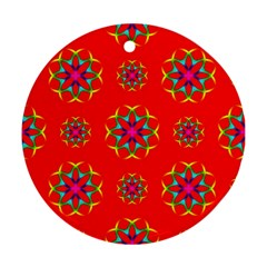Rainbow Colors Geometric Circles Seamless Pattern On Red Background Round Ornament (two Sides) by BangZart