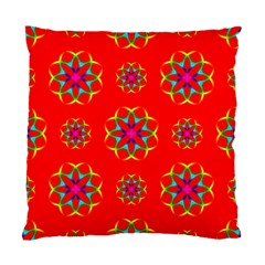Rainbow Colors Geometric Circles Seamless Pattern On Red Background Standard Cushion Case (one Side) by BangZart