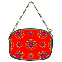 Rainbow Colors Geometric Circles Seamless Pattern On Red Background Chain Purses (two Sides)