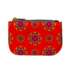 Rainbow Colors Geometric Circles Seamless Pattern On Red Background Mini Coin Purses by BangZart
