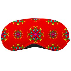 Rainbow Colors Geometric Circles Seamless Pattern On Red Background Sleeping Masks