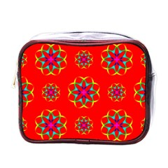 Rainbow Colors Geometric Circles Seamless Pattern On Red Background Mini Toiletries Bags