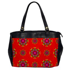 Rainbow Colors Geometric Circles Seamless Pattern On Red Background Office Handbags by BangZart