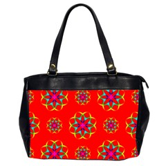 Rainbow Colors Geometric Circles Seamless Pattern On Red Background Office Handbags (2 Sides)  by BangZart