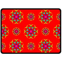 Rainbow Colors Geometric Circles Seamless Pattern On Red Background Fleece Blanket (large)  by BangZart