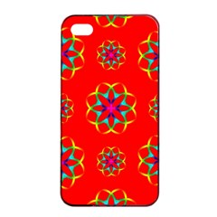 Rainbow Colors Geometric Circles Seamless Pattern On Red Background Apple Iphone 4/4s Seamless Case (black) by BangZart