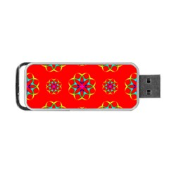 Rainbow Colors Geometric Circles Seamless Pattern On Red Background Portable Usb Flash (one Side) by BangZart