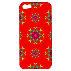 Rainbow Colors Geometric Circles Seamless Pattern On Red Background Apple Iphone 5 Hardshell Case by BangZart