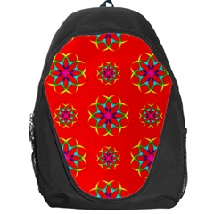 Rainbow Colors Geometric Circles Seamless Pattern On Red Background Backpack Bag by BangZart