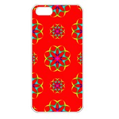 Rainbow Colors Geometric Circles Seamless Pattern On Red Background Apple Iphone 5 Seamless Case (white) by BangZart